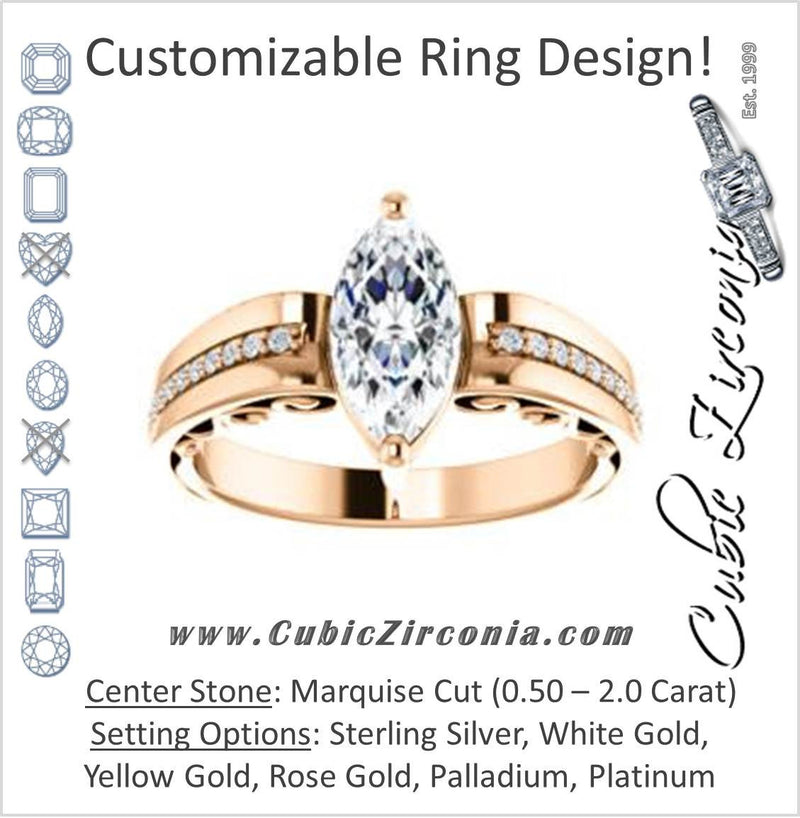 Cubic Zirconia Engagement Ring- The Atia (Customizable Marquise Cut Design with Three-sided Channel Pavé Band)
