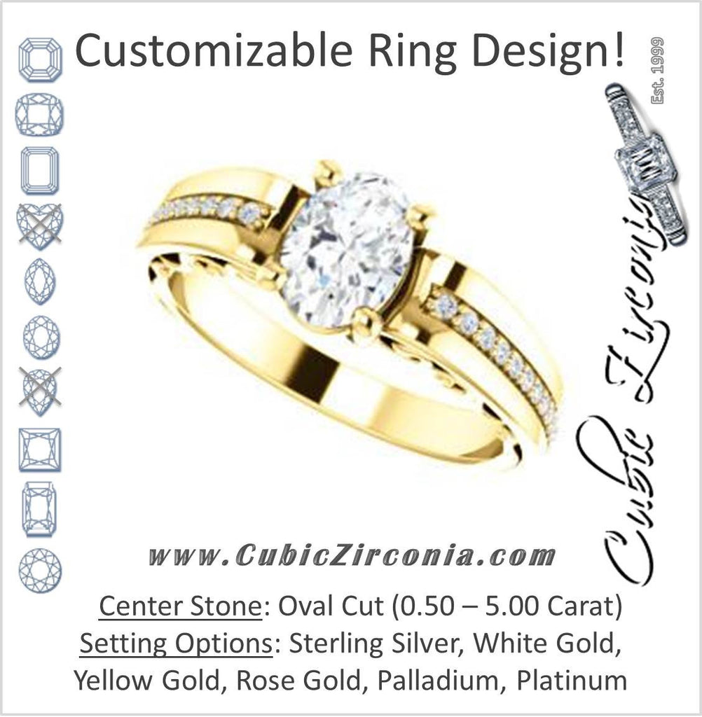 Cubic Zirconia Engagement Ring- The Atia (Customizable Oval Cut Design with Three-sided Channel Pavé Band)