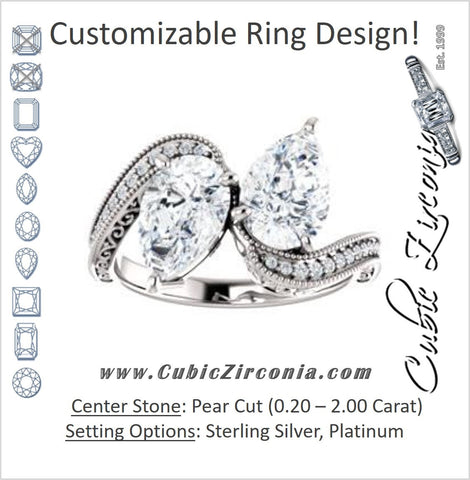 Cubic Zirconia Engagement Ring- The Aylen (Customizable Enhanced 2-stone Pear Cut Artisan Design with 3-sided Filigree and Pavé Band)