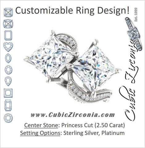 Cubic Zirconia Engagement Ring- The Aylen (Customizable Enhanced 2-stone Princess Cut Artisan Design with 3-sided Filigree and Pavé Band)