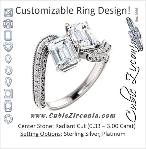 Cubic Zirconia Engagement Ring- The Aylen (Customizable Enhanced 2-stone Radiant Cut Artisan Design with 3-sided Filigree and Pavé Band)