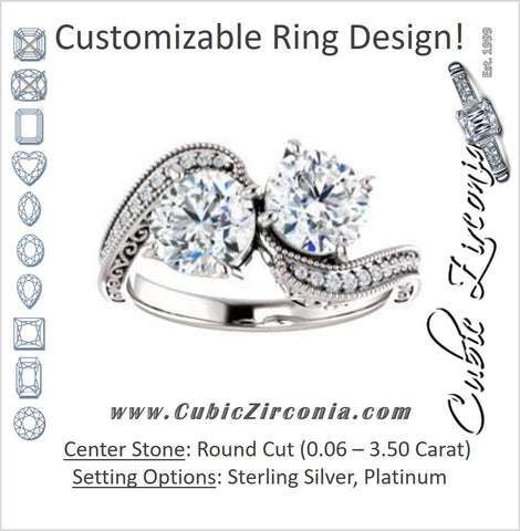 Cubic Zirconia Engagement Ring- The Aylen (Customizable Enhanced 2-stone Round Cut Artisan Design with 3-sided Filigree and Pavé Band)