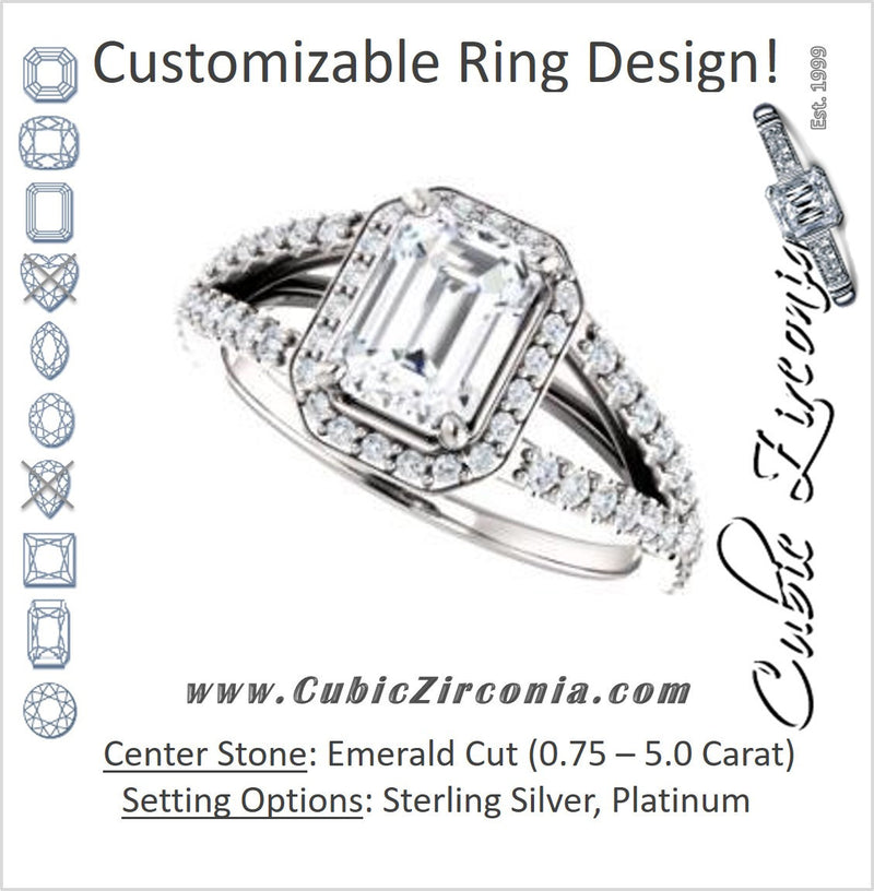 Cubic Zirconia Engagement Ring- The Azul (Customizable Emerald Cut Style with Cathedral-Halo and Split-Pavé Band)