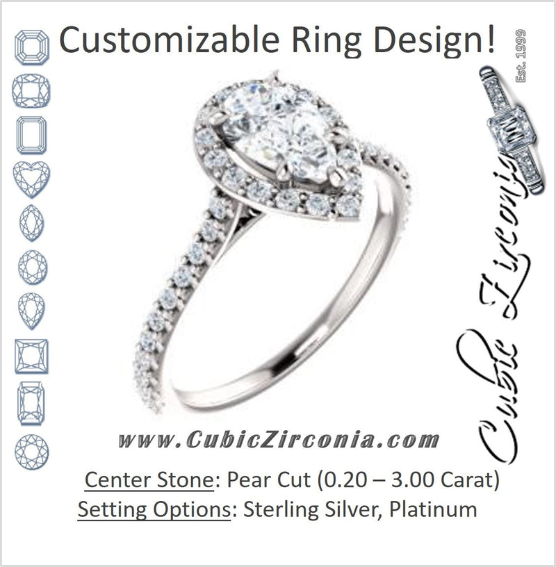 Cubic Zirconia Engagement Ring- The Bailey (Customizable Cathedral-set Pear Cut Design with Halo, Thin Pavé Band and Floating Peekaboo)