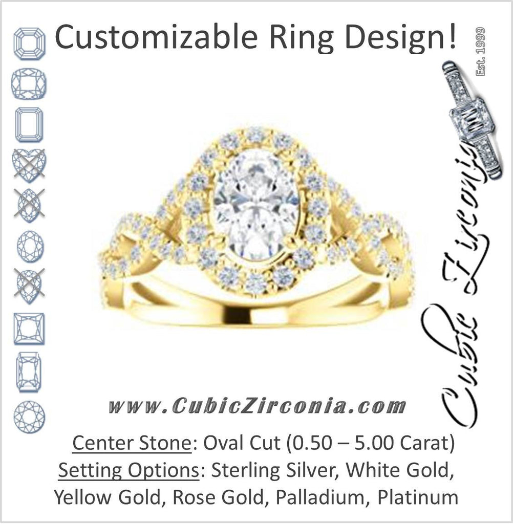 Cubic Zirconia Engagement Ring- The Benita (Customizable Oval Cut with Infinity Split-band Pavé and Halo)