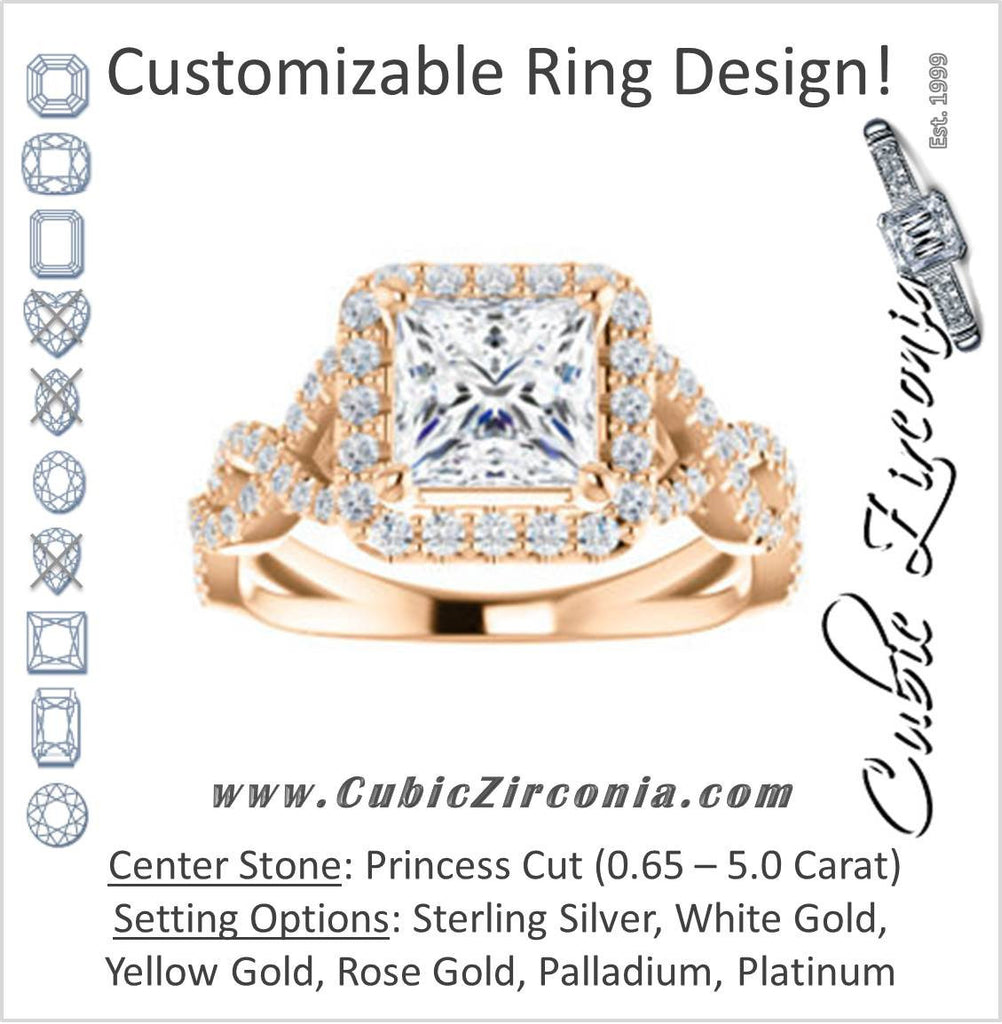 Cubic Zirconia Engagement Ring- The Benita (Customizable Princess Cut with Infinity Split-band Pavé and Halo)