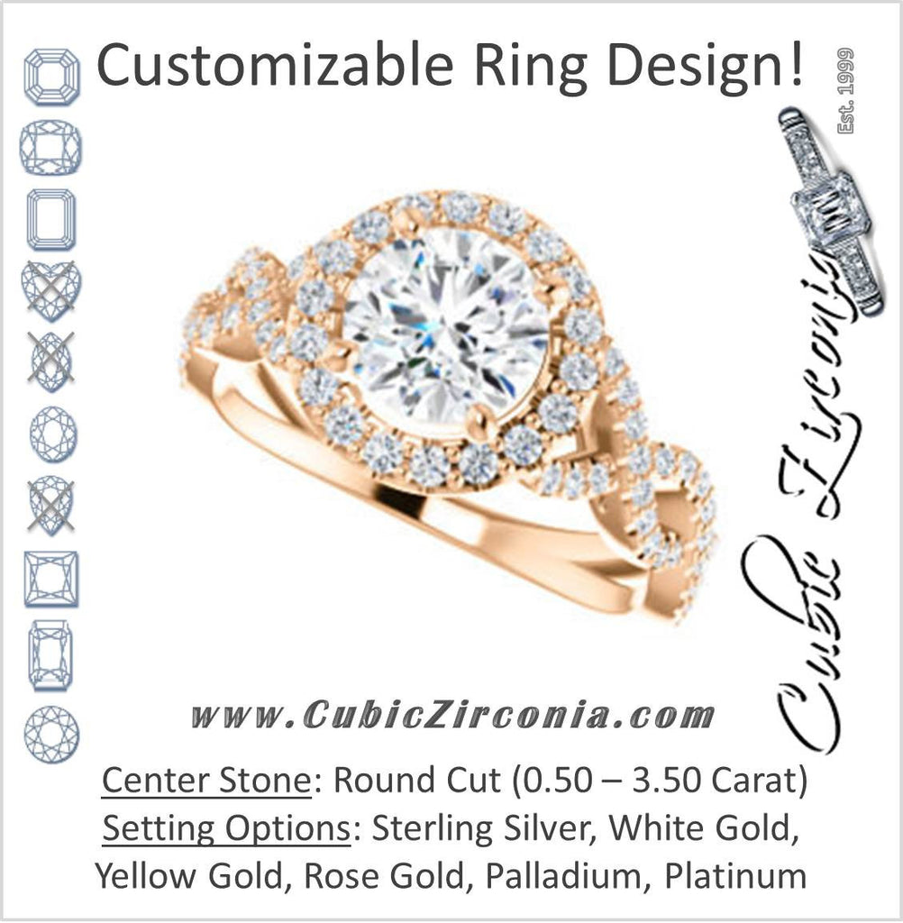Cubic Zirconia Engagement Ring- The Benita (Customizable Round Cut with Infinity Split-band Pavé and Halo)