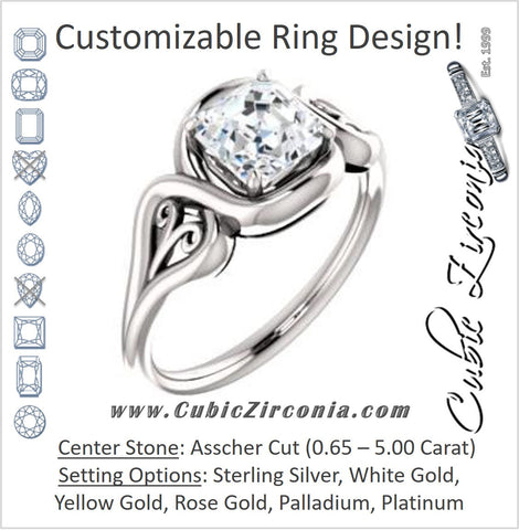 Cubic Zirconia Engagement Ring- The Bentley (Customizable Asscher Cut Solitaire with Wide Tapered Band and Side Engraving Motif)
