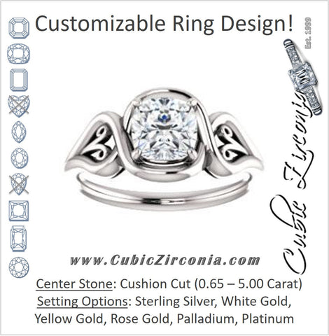 Cubic Zirconia Engagement Ring- The Bentley (Customizable Cushion Cut Solitaire with Wide Tapered Band and Side Engraving Motif)