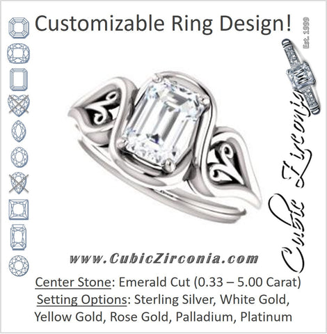 Cubic Zirconia Engagement Ring- The Bentley (Customizable Emerald Cut Solitaire with Wide Tapered Band and Side Engraving Motif)