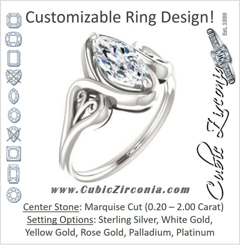 Cubic Zirconia Engagement Ring- The Bentley (Customizable Marquise Cut Solitaire with Wide Tapered Band and Side Engraving Motif)