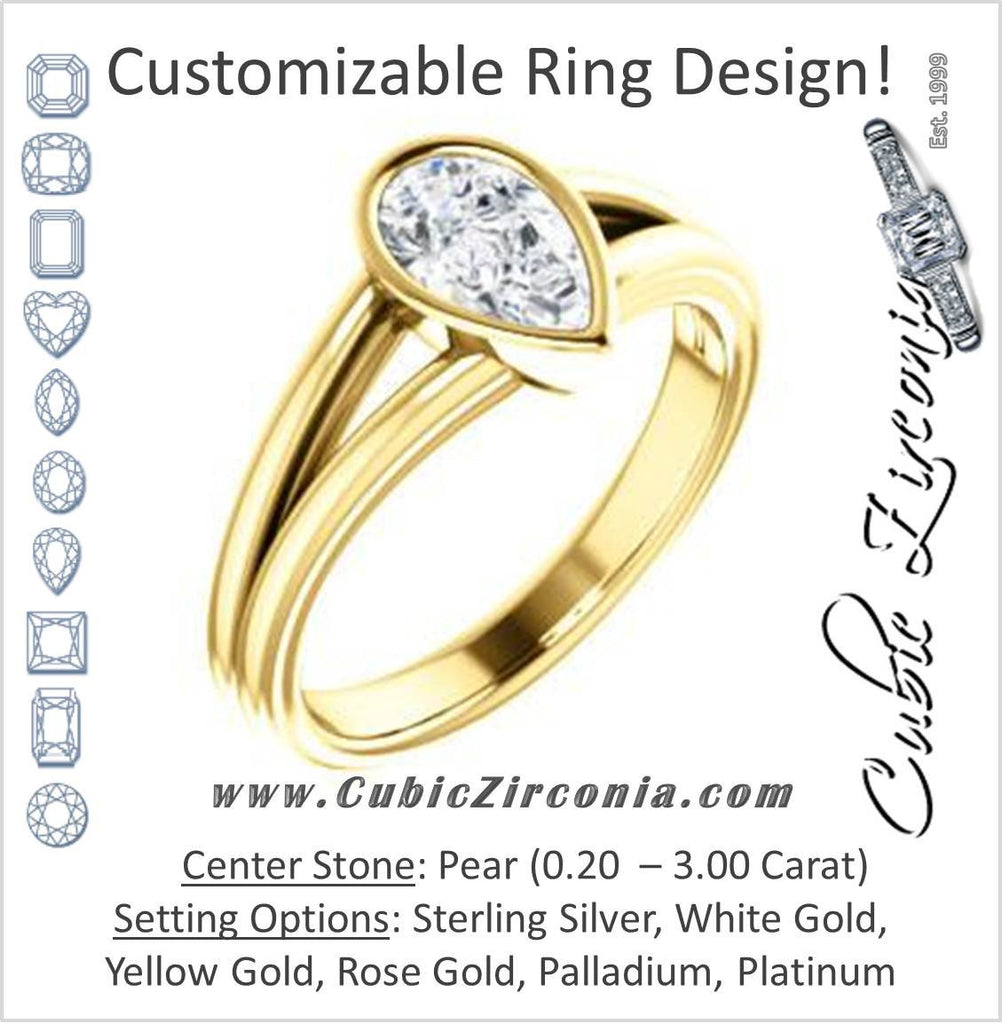 Cubic Zirconia Engagement Ring- The Bernadine (Customizable Bezel-set Pear Cut with V-Split Band)