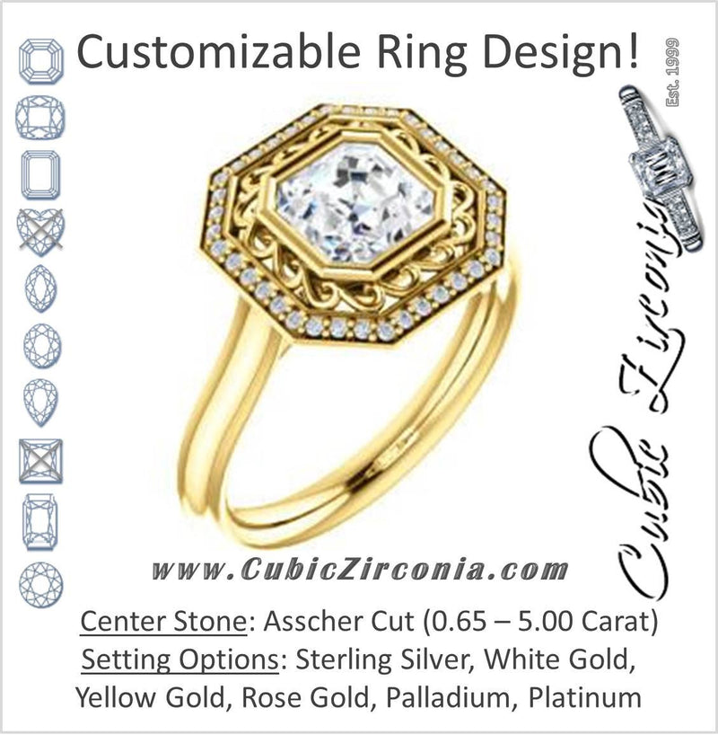 Cubic Zirconia Engagement Ring- The Bessie (Customizable Cathedral-Bezel Asscher Cut Design with Flowery Filigree and Halo)