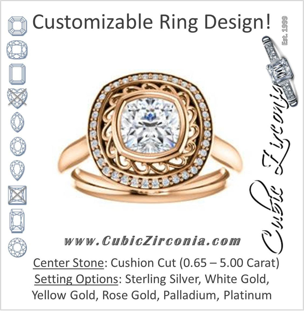 Cubic Zirconia Engagement Ring- The Bessie (Customizable Cathedral-Bezel Cushion Cut Design with Flowery Filigree and Halo)