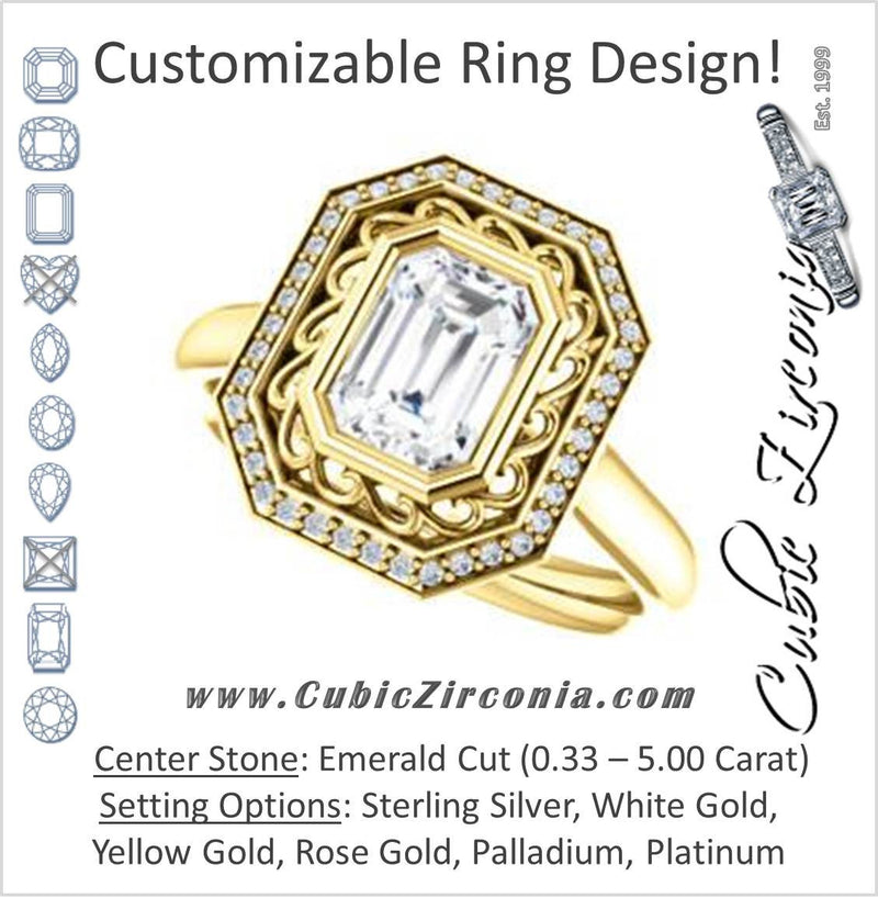 Cubic Zirconia Engagement Ring- The Bessie (Customizable Cathedral-Bezel Emerald Cut Design with Flowery Filigree and Halo)