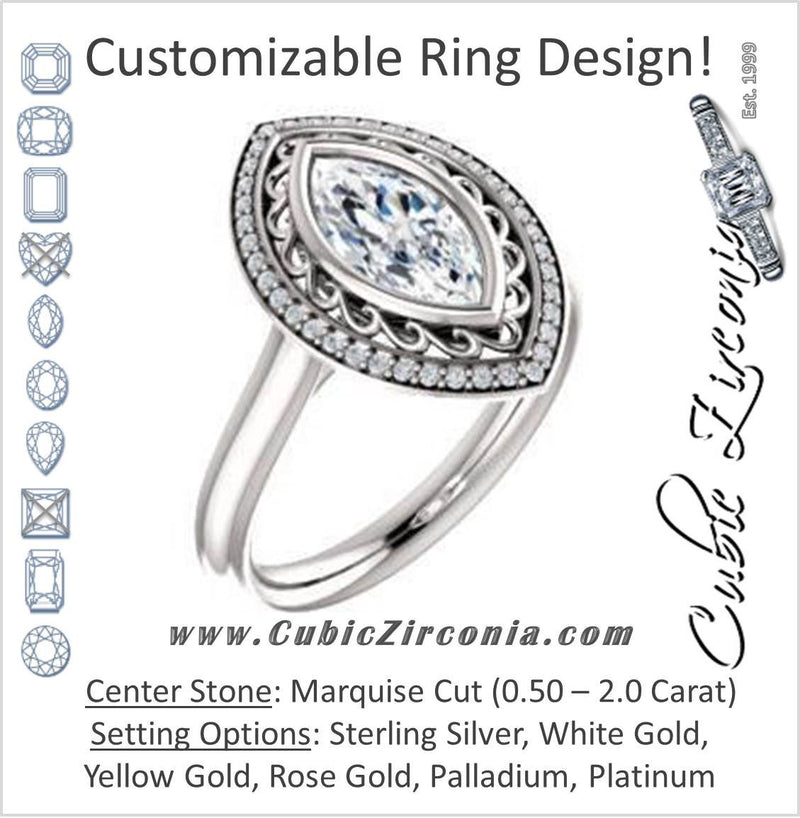 Cubic Zirconia Engagement Ring- The Bessie (Customizable Cathedral-Bezel Marquise Cut Design with Flowery Filigree and Halo)