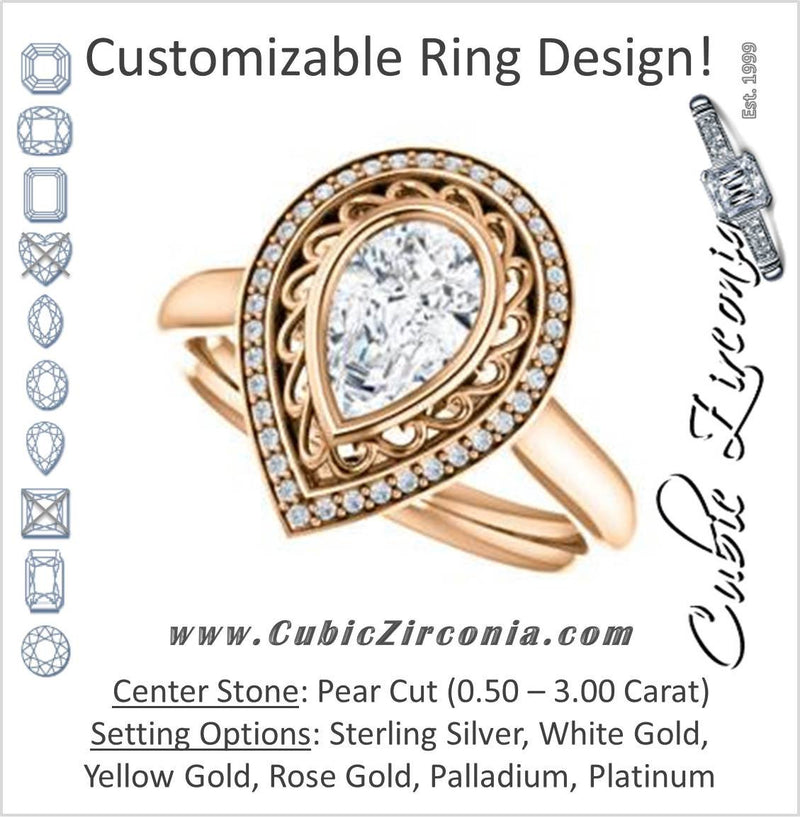 Cubic Zirconia Engagement Ring- The Bessie (Customizable Cathedral-Bezel Pear Cut Design with Flowery Filigree and Halo)