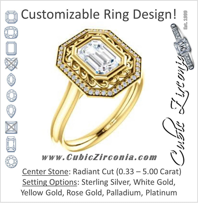 Cubic Zirconia Engagement Ring- The Bessie (Customizable Cathedral-Bezel Radiant Cut Design with Flowery Filigree and Halo)