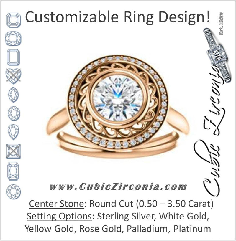 Cubic Zirconia Engagement Ring- The Bessie (Customizable Cathedral-Bezel Round Cut Design with Flowery Filigree and Halo)