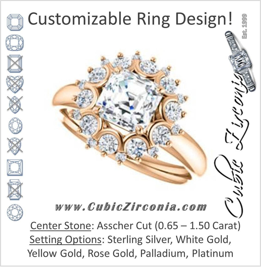 Cubic Zirconia Engagement Ring- The BettyJo (Customizable Asscher Cut featuring Cluster Accent Bouquet)