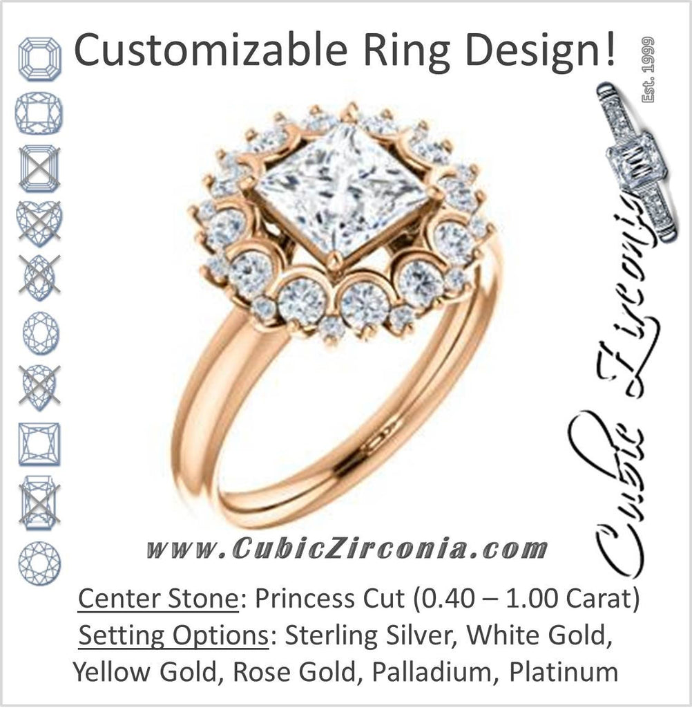 Cubic Zirconia Engagement Ring- The BettyJo (Customizable Princess Cut featuring Cluster Accent Bouquet)