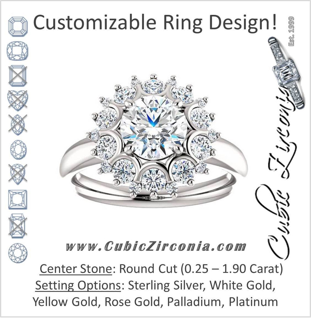 Cubic Zirconia Engagement Ring- The BettyJo (Customizable Round Cut featuring Cluster Accent Bouquet)