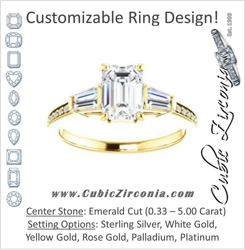 Cubic Zirconia Engagement Ring- The Bhakti (Customizable Enhanced 5-stone Emerald Cut Design with Thin Pavé Band)