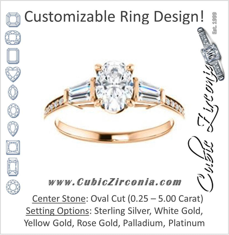 Cubic Zirconia Engagement Ring- The Bhakti (Customizable Enhanced 5-stone Oval Cut Design with Thin Pavé Band)