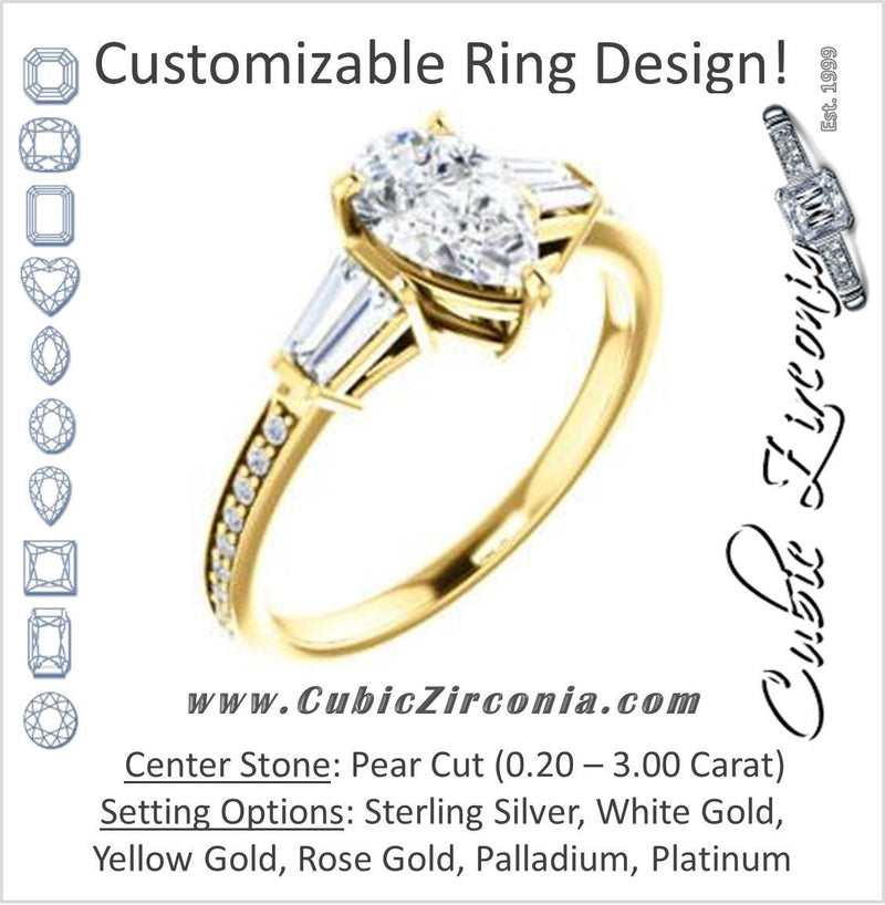 Cubic Zirconia Engagement Ring- The Bhakti (Customizable Enhanced 5-stone Pear Cut Design with Thin Pavé Band)