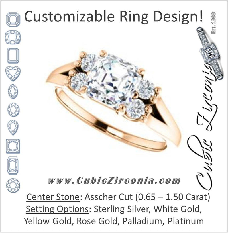 Cubic Zirconia Engagement Ring- The Bianca (Customizable 5-stone Cluster Style with Asscher Cut Center)