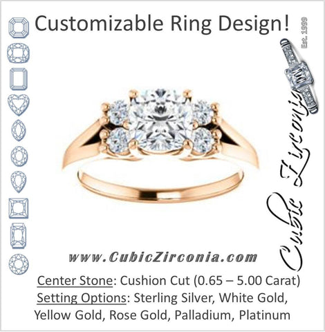 Cubic Zirconia Engagement Ring- The Bianca (Customizable 5-stone Cluster Style with Cushion Cut Center)