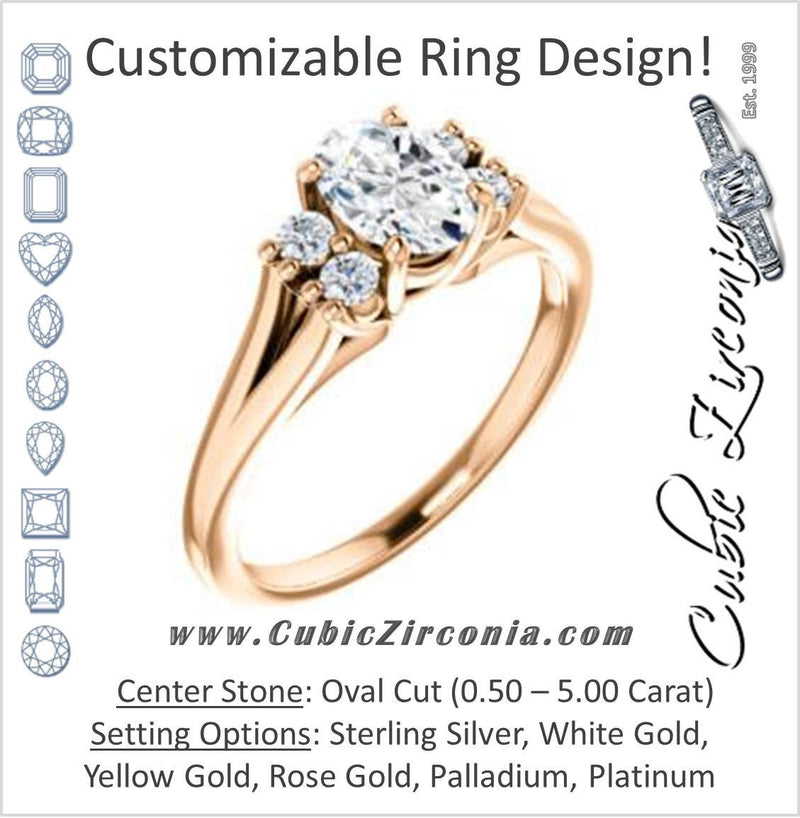 Cubic Zirconia Engagement Ring- The Bianca (Customizable 5-stone Cluster Style with Oval Cut Center)