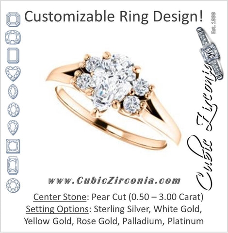 Cubic Zirconia Engagement Ring- The Bianca (Customizable 5-stone Cluster Style with Pear Cut Center)
