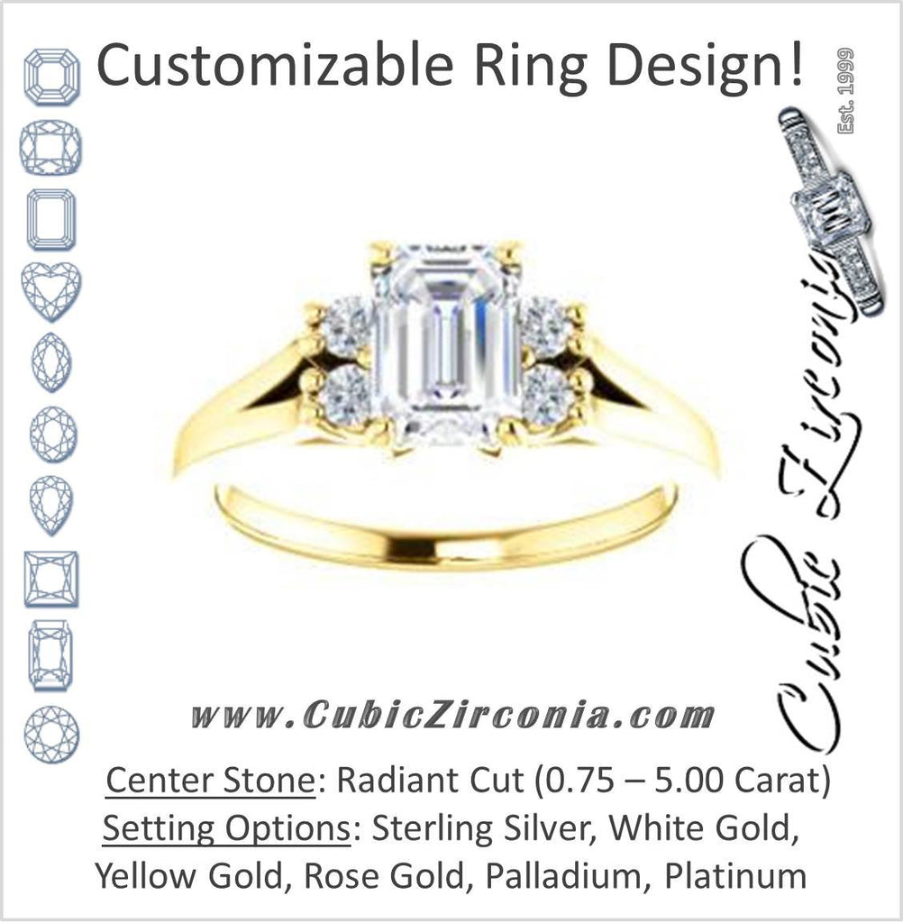Cubic Zirconia Engagement Ring- The Bianca (Customizable 5-stone Cluster Style with Radiant Cut Center)
