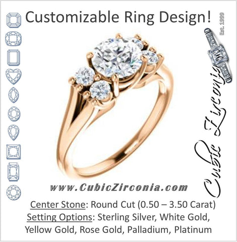 Cubic Zirconia Engagement Ring- The Bianca (Customizable 5-stone Cluster Style with Round Cut Center)