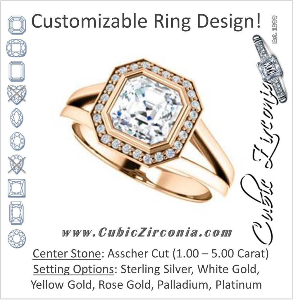 Cubic Zirconia Engagement Ring- The Blondie (Customizable Bezel-set Cathedral-style Asscher Cut with Halo Style and V-Split Band)