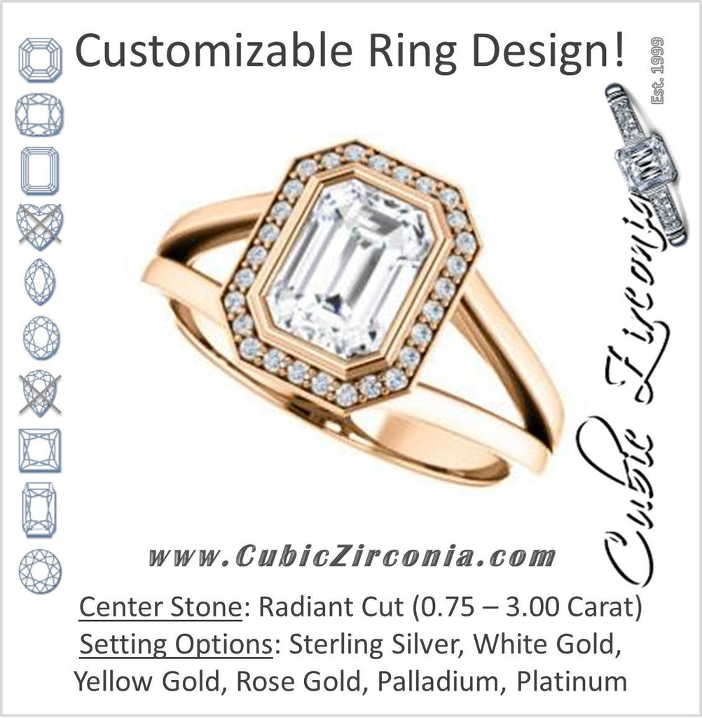 Cubic Zirconia Engagement Ring- The Blondie (Customizable Bezel-set Cathedral-style Radiant Cut with Halo Style and V-Split Band)