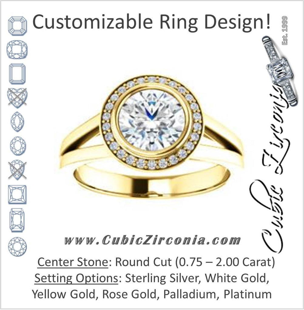 Cubic Zirconia Engagement Ring- The Blondie (Customizable Bezel-set Cathedral-style Round Cut with Halo Style and V-Split Band)