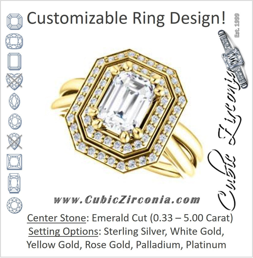 Cubic Zirconia Engagement Ring- The Brielle (Customizable Emerald Cut Cathedral Double-Halo with Curved Split-Band)