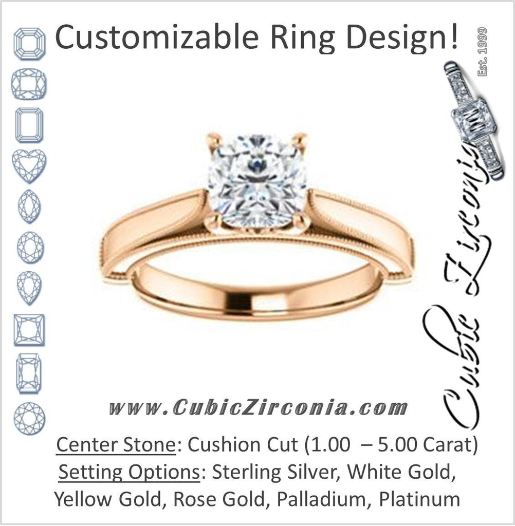 Cubic Zirconia Engagement Ring- The Britney (Customizable Cushion Cut Decorative-Pronged Cathedral Solitaire with Fine Milgrain Band)