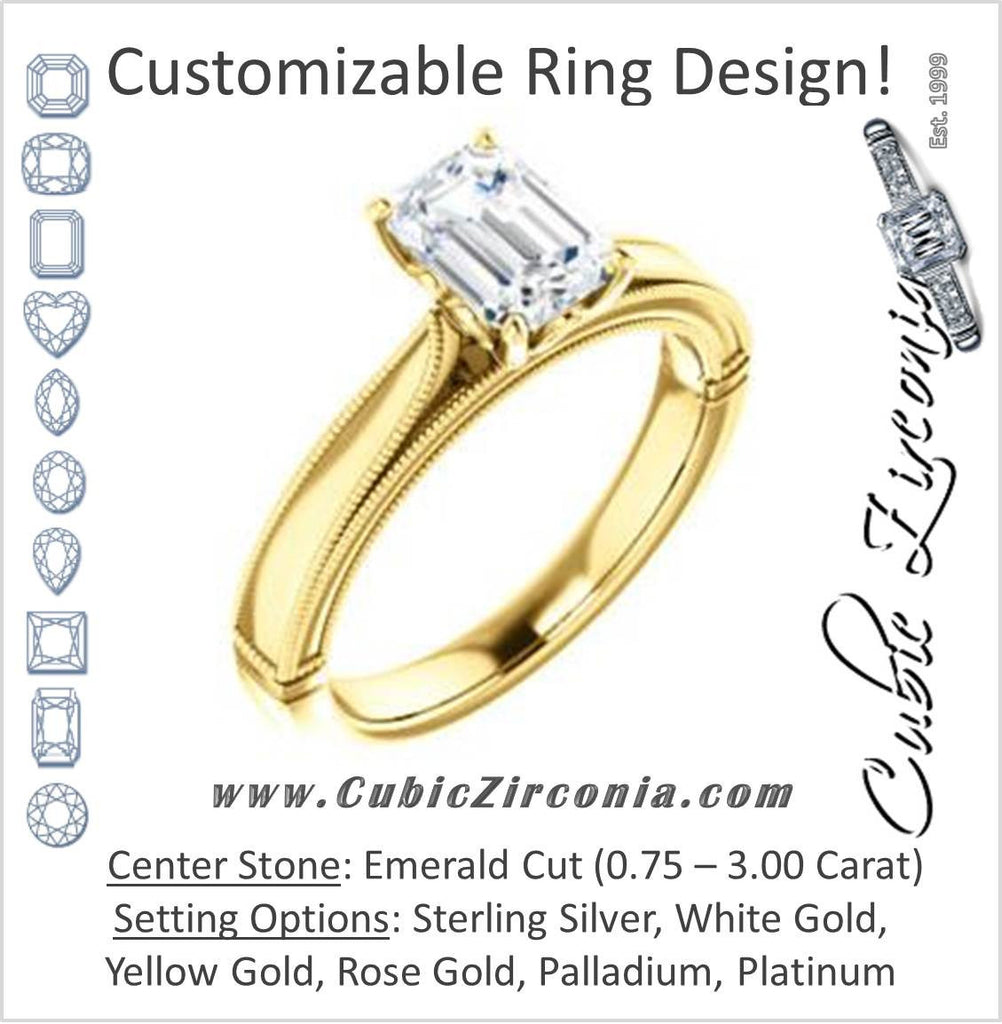 Cubic Zirconia Engagement Ring- The Britney (Customizable Emerald Cut Decorative-Pronged Cathedral Solitaire with Fine Milgrain Band)