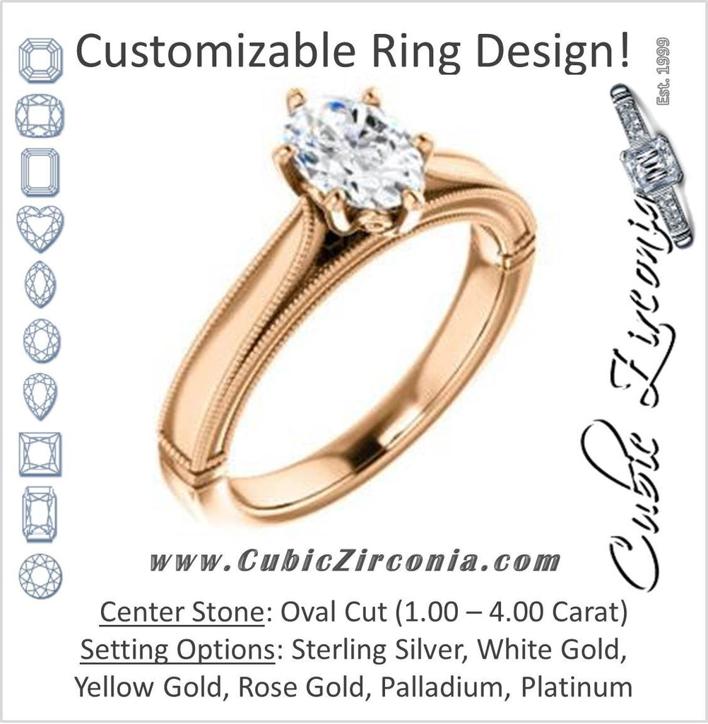 Cubic Zirconia Engagement Ring- The Britney (Customizable Oval Cut Decorative-Pronged Cathedral Solitaire with Fine Milgrain Band)