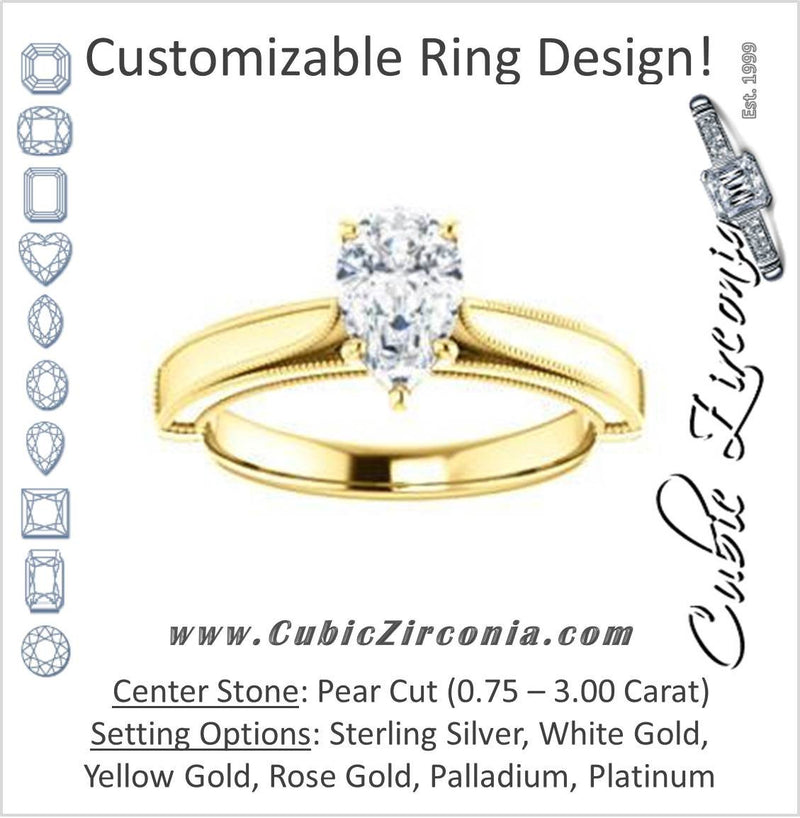 Cubic Zirconia Engagement Ring- The Britney (Customizable Pear Cut Decorative-Pronged Cathedral Solitaire with Fine Milgrain Band)