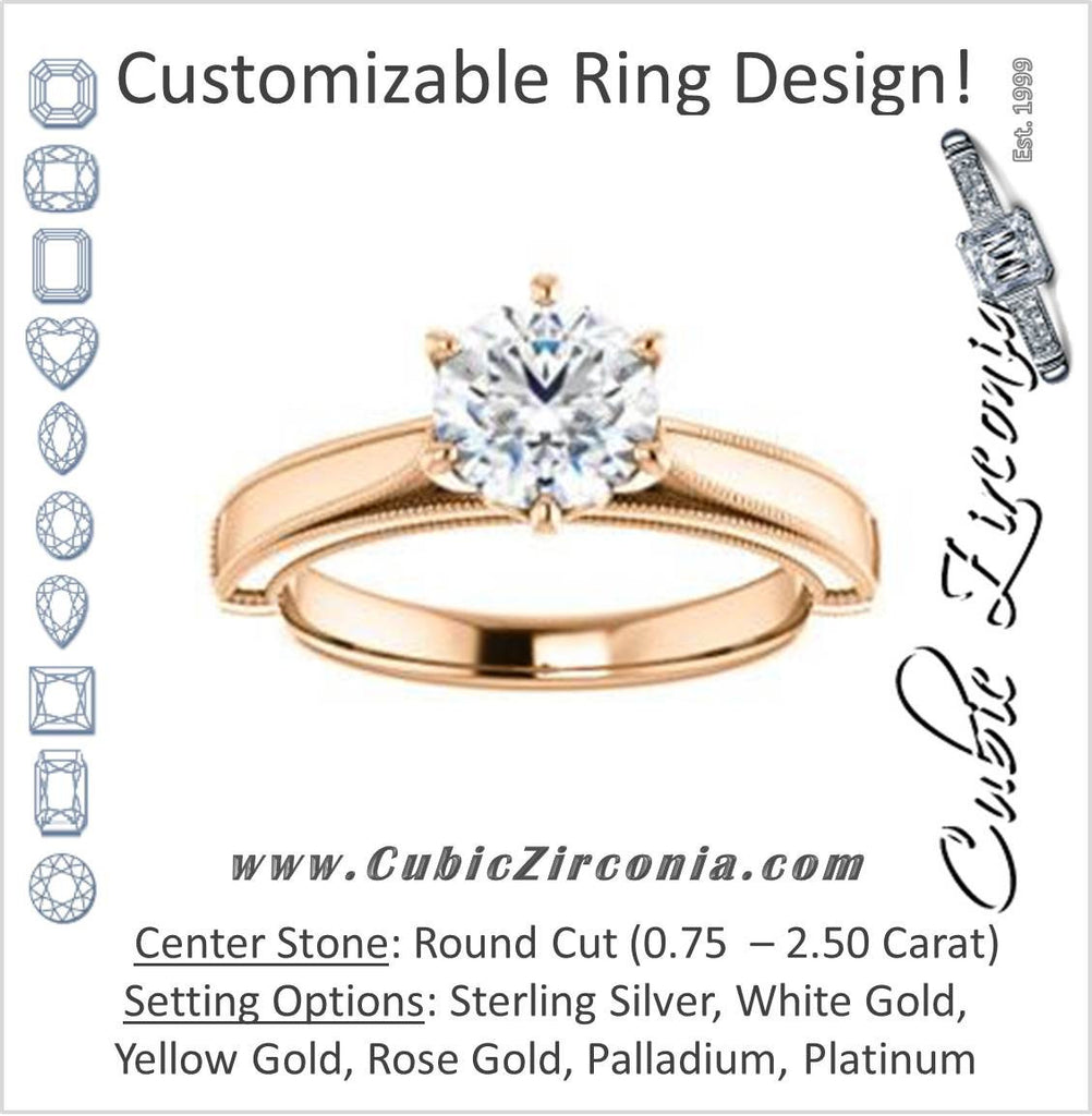 Cubic Zirconia Engagement Ring- The Britney (Customizable Round Cut Decorative-Pronged Cathedral Solitaire with Fine Milgrain Band)