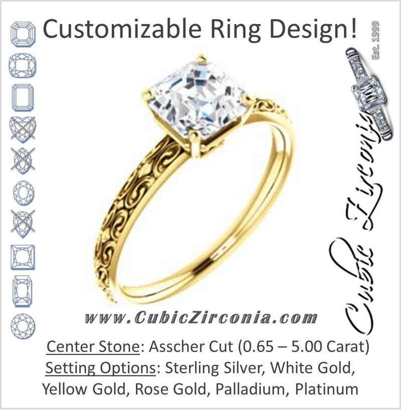 Cubic Zirconia Engagement Ring- The Brittney (Customizable Asscher Cut Solitaire with Scrolled Engraving)