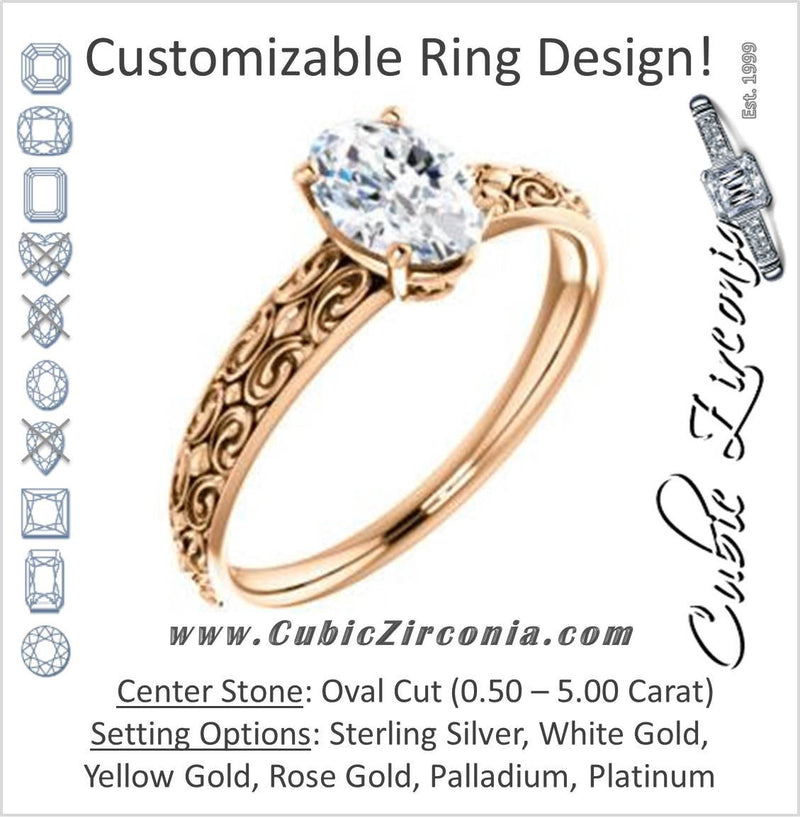 Cubic Zirconia Engagement Ring- The Brittney (Customizable Oval Cut Solitaire with Scrolled Engraving)