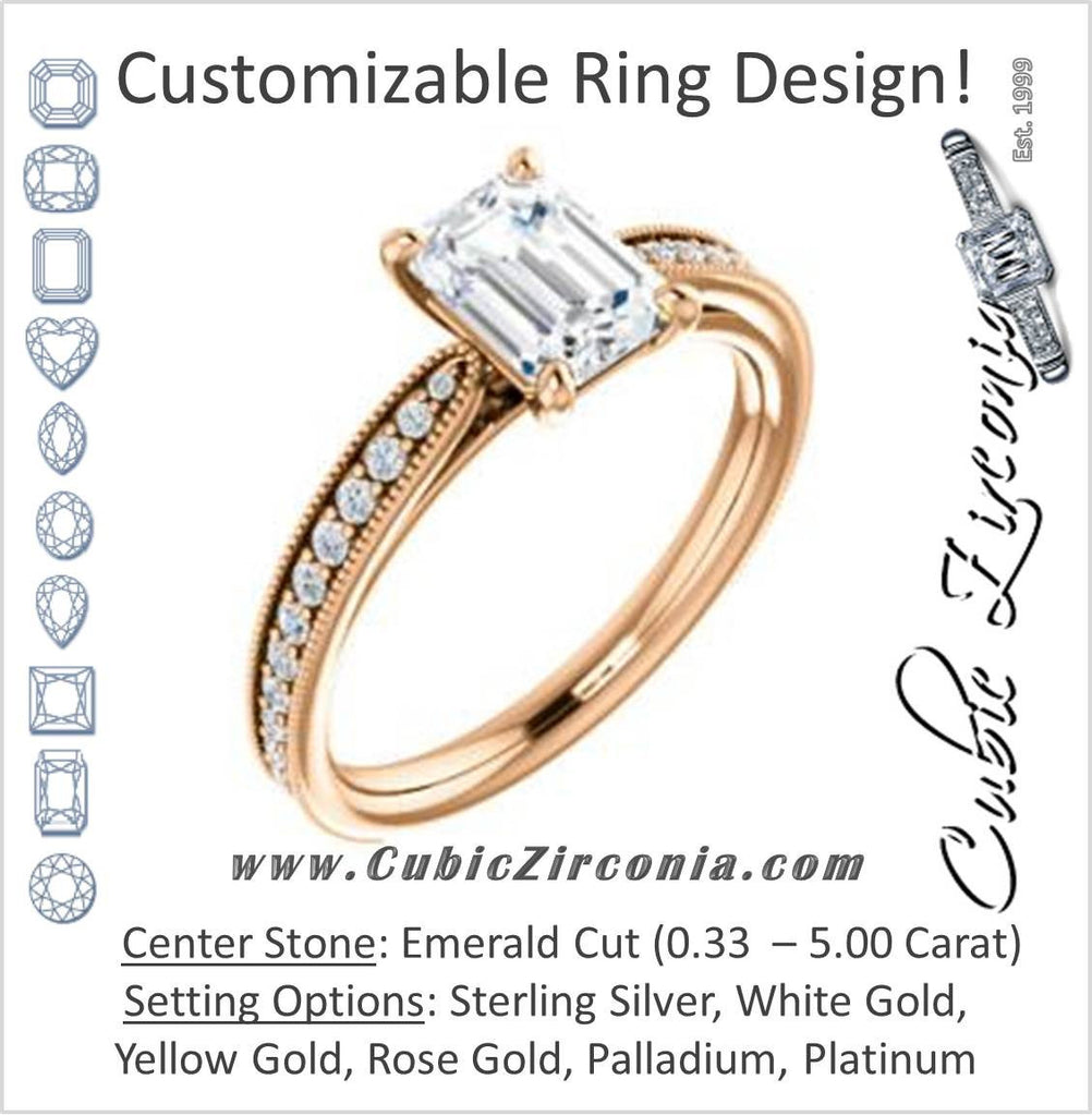 Cubic Zirconia Engagement Ring- The Brooklynn (Customizable Emerald Cut with Cathedral Setting and Milgrained Pavé Band)