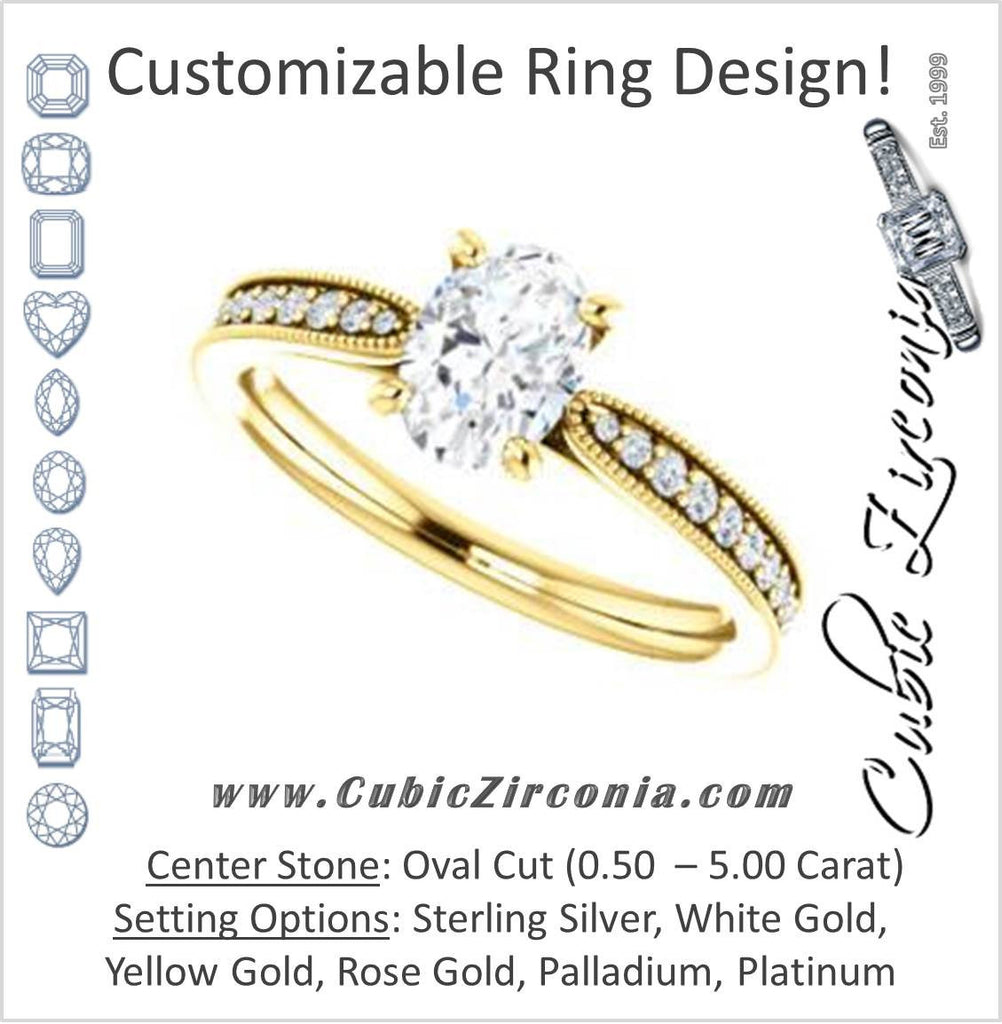 Cubic Zirconia Engagement Ring- The Brooklynn (Customizable Oval Cut with Cathedral Setting and Milgrained Pavé Band)