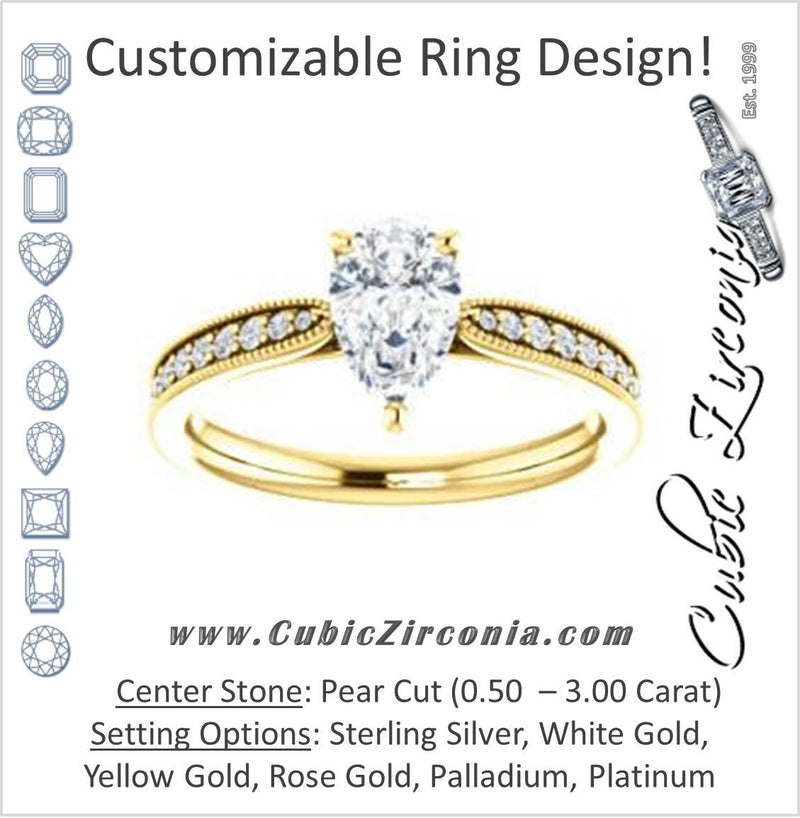 Cubic Zirconia Engagement Ring- The Brooklynn (Customizable Pear Cut with Cathedral Setting and Milgrained Pavé Band)
