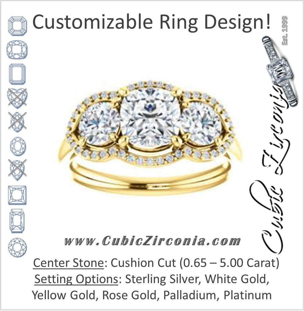 Cubic Zirconia Engagement Ring- The Camila (Customizable Cushion Cut Enhanced 3-stone Design with Halos)